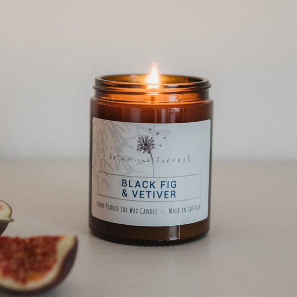 Black Fig and Vetiver Soy Candles in Amber Jars