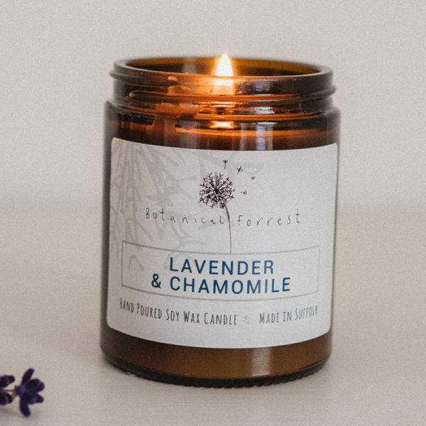 Lavender and Chamomile Soy Candles in Amber Jars