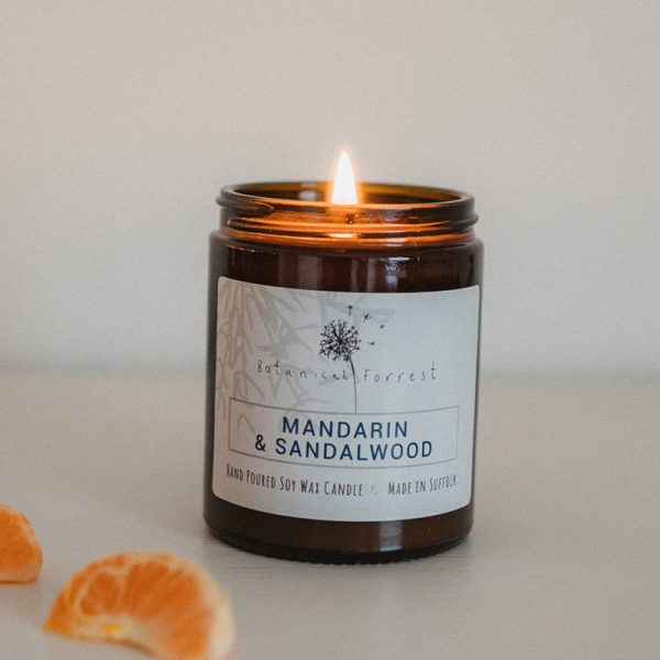 Mandarin and Sandalwood Soy Candles in Amber Jars