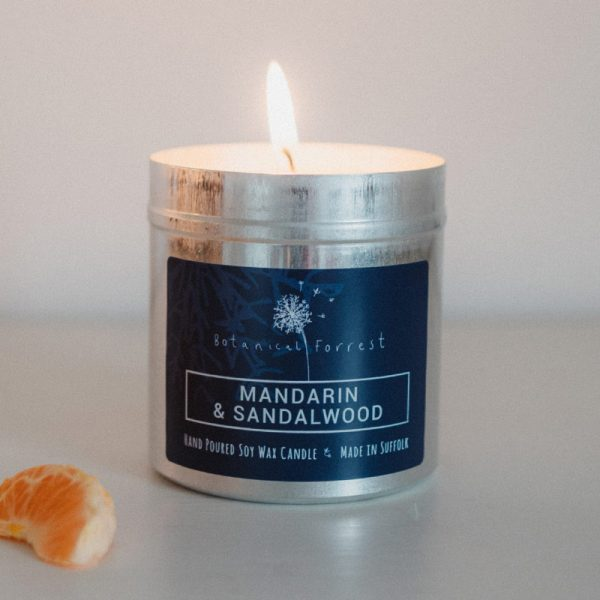 Mandarin And Sandalwood Soy Candles in Tins