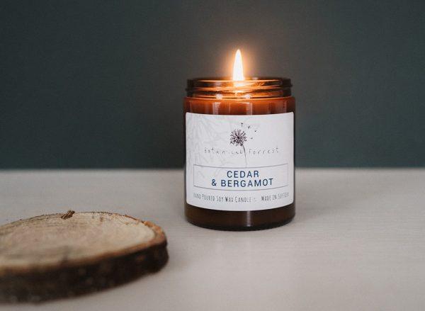 Botanical Forrest Cedar & Bergamot Soy Candles in Amber Jars